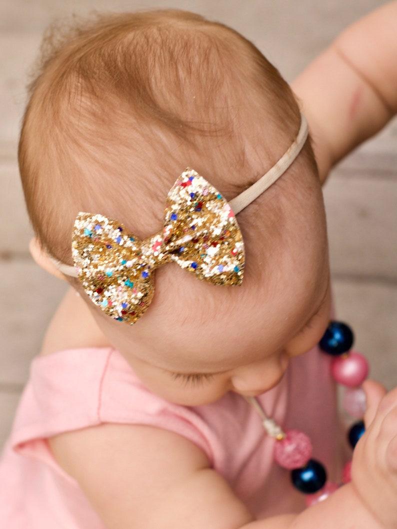 girl clip set baby headbands glitter bows 4th of July Baby bow headband baby headbands toddler baby bows nylon headbands