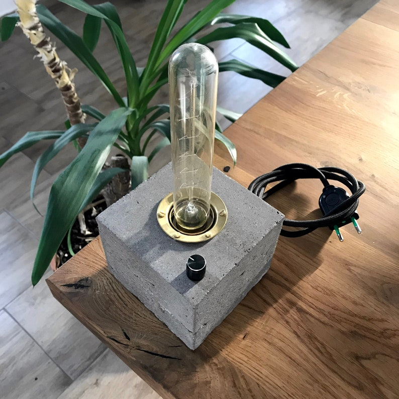 Concrete Lamp Dimmable Soothing Dimmer Knob Vintage Retro image 0