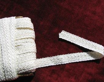 vintage white rayon braided trim, 7/8 inch wide, Lovely wedding gown trim, flexible, per yard