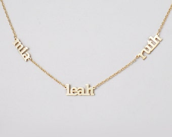012042bc2e Triple Name Necklace - Double Name - Multiple Names - Custom Name Necklace  - Children Names - New Baby - Mom Necklaces - #PN15F