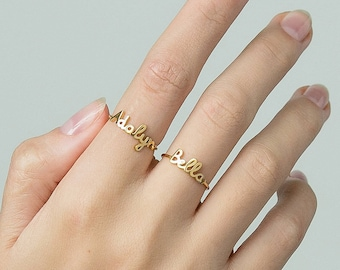 9457560ffd Custom Name Ring - Personalized Name Ring - Minimal Name Jewelry - Custom  Word Ring - Gold Personalized Word #PR04F1