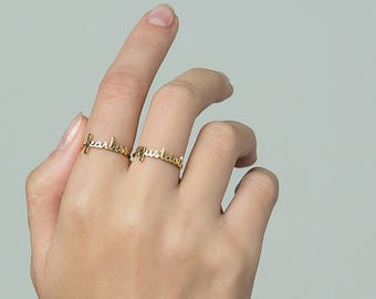 Dainty Custom Name Ring - Personalized Name Ring - Your Name Jewelry - Family Jewelry - Sentimental Christmas Gifts #PR04T F63