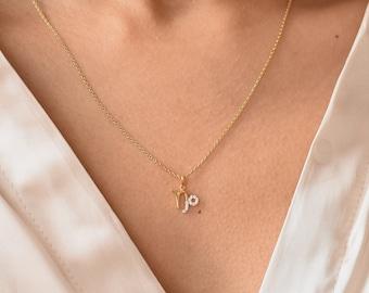 Dainty Zodiac Sign Necklace - Semi Pave Zodiac Necklace - Gold Zodiac Necklace - Best Friend Gifts - Personalized Gift  // Ready-to-ship