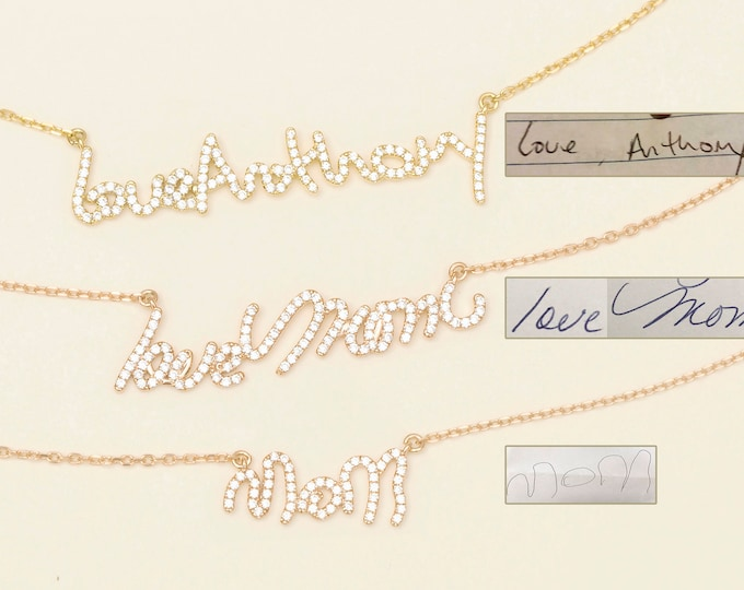 Pave Stone Signature Actual Handwriting Keepsake Memorial Jewelry #PN02D02 Custom Pave Stone Handwriting Necklace
