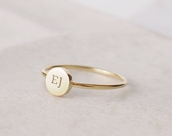fa2f8c94eb1ed Custom Initial Ring - Stackable Initial Disc Ring - Dainty Letter Ring -  Custom Stacking Name Jewelry Gold