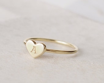923658d99f Custom Initial Heart Ring - Stackable Initial Ring - Dainty Letter Ring -  Custom Stacking Name Jewelry Gold, Rose Gold, Silver #PR16