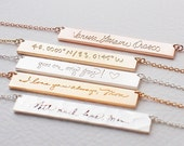Actual Handwriting Bar Necklace - Loved One's Handwriting - Mother Father Memorial Necklace - Meaningful Wedding Gifts - PN10.40