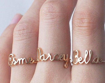 fba53a6919 Custom Name Ring - Personalized Name Ring - Baby Name - New Mom Ring -  Bridesmaid Jewelry - Meaningful Christmas Gifts - #PR04F63