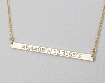 Skinny Coordinates Bar Necklace - Custom Coordinates Necklace - Personalized Latitude Longitude Jewelry PN29