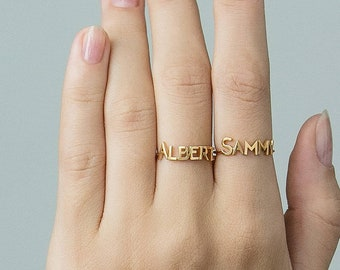 358e8f9d63 Custom Name Ring - Personalized Name Ring - Gold Name Ring - Minimal Name  Jewelry - Custom Word Ring - Gold Personalized Word #PR04F143