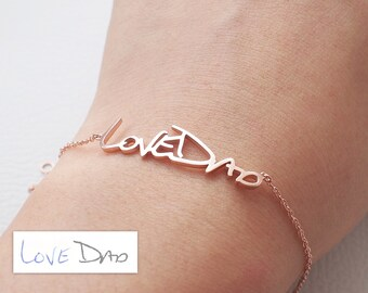 Actual Handwriting Bracelet - Personalized Memorial Signature Bracelet - Quality Silver, Gold Plated, Rose Gold Jewelry - #LA03