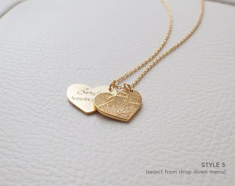 Double Fingerprint Heart Necklace - Loved One's Actual Fingerprint Necklace - Memorial Jewelry - Mothers Day Gifts - PN04.15X