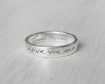 Actual Handwriting Band Ring - Personalized Signature Ring - Mom Memorial - PR01A