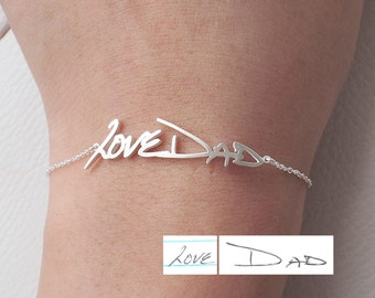 Actual Handwriting Bracelet - Personalized Memorial Signature Bracelet - Quality Silver, 18K Gold Plated, Rose Gold Jewelry - #LA03