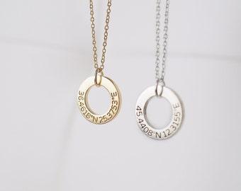 Custom Coordinates Necklace - Personalized Coordinates Circle Necklace - Custom Latitude Longitude Jewelry PN36