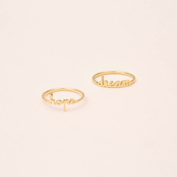 Custom Word Ring With Hammered Band   Dainty Personalized Name Ring   Minimal Name Jewelry   Stackable Name Ring #Pr04 H F63 by Etsy