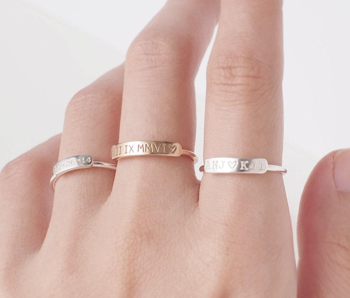 Dainty Bar Ring Stackable Name Ring Custom Name Ring   Etsy