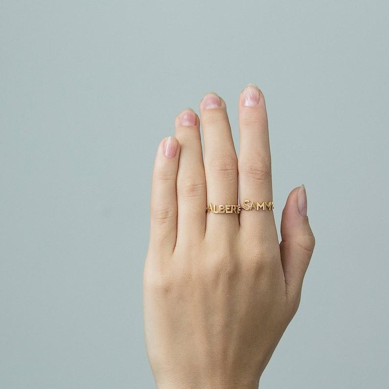 Custom Word Ring Custom Name Ring Gold Personalized Word #PR04F143 Minimal Name Jewelry Personalized Name Ring Gold Name Ring