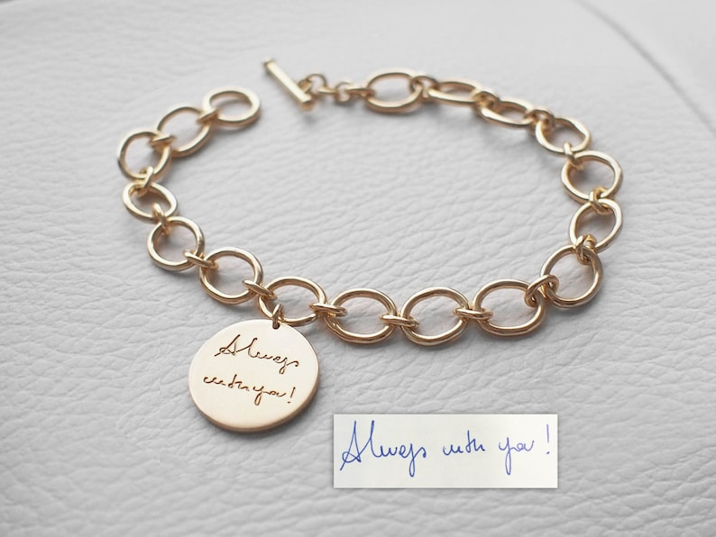 Actual Handwriting Charm Bracelet Handwriting Charm with Initial Tags and Birthstones #LA15 Personalized Memorial Signature Bracelet