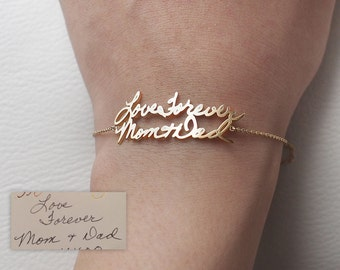Actual Handwriting Bracelet - Personalized Memorial Signature Bracelet - Handwriting Wedding Jewelry - Mother's Gift LA03L