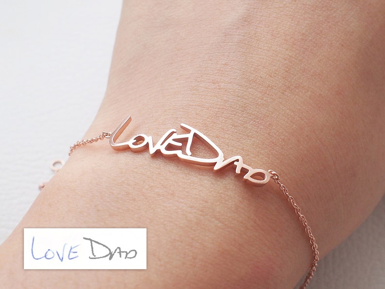 a846aeecb6726 Actual Handwriting Bracelet - Personalized Memorial Signature Bracelet -  Quality Silver, 18K Gold Vermeil, Rose Gold Vermeil Jewelry - #LA03