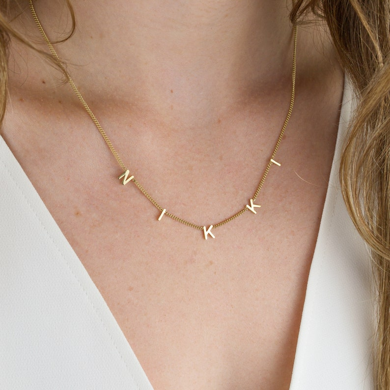 Letter Necklace with Thin Curb Chain  Initials Necklace  image 0