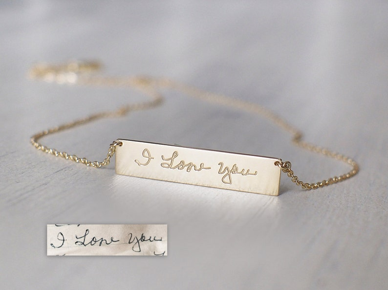 2d44e9a165990 Actual Handwriting Bar Necklace - Personalized Signature Necklace - Silver,  Gold, Rose Gold - Mothers Gifts - #PN10.30