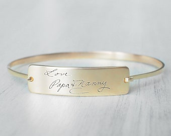 Actual Handwriting Bracelet - Personalized Bangles For Her -  Signature Bracelet - Memorial Jewelry - Gift for Mom - PB13