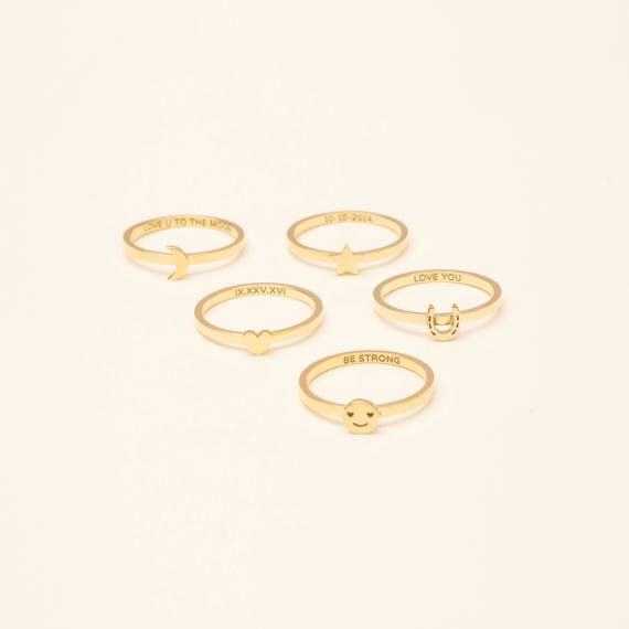 #PR20HG Smiley Ring  Horseshoe Ring  Moon Star Heart Ring with Custom Message Band Ring with Custom Secret Message