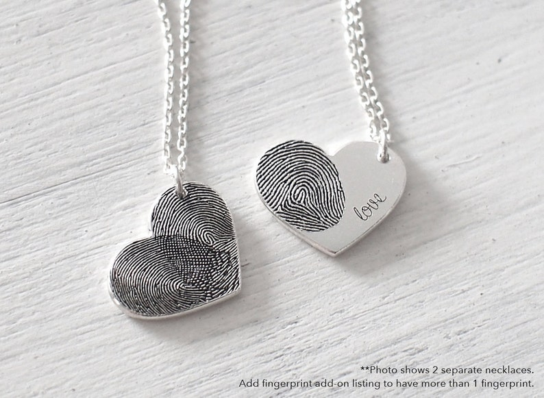 Custom Actual Fingerprint Heart Necklace - Delicate Personalized  Fingerprint Necklace For Her - Mother's Day Gifts - #PN04 15