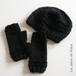 hat and fingerless mitten, black, wool alpaca, hand knitted