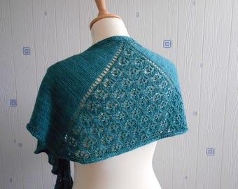 dark green lace shawl, hand knitted, merino