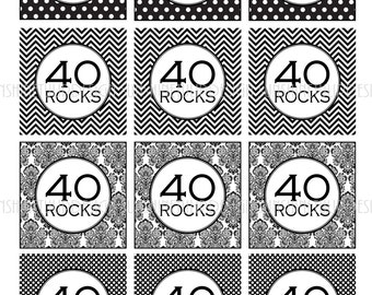 40th Birthday Black And White Printable DIY Cupcake Toppers Sticker Labels Gift Tags By SunshineTulipdesign