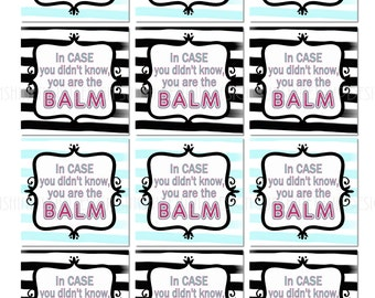image about You're the Balm Free Printable known as Printable By yourself are the Balm Trainer Appreciation Reward Tags Etsy