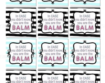 photo regarding You're the Balm Free Printable identify Printable Your self are the Balm Instructor Appreciation Reward Tags Etsy