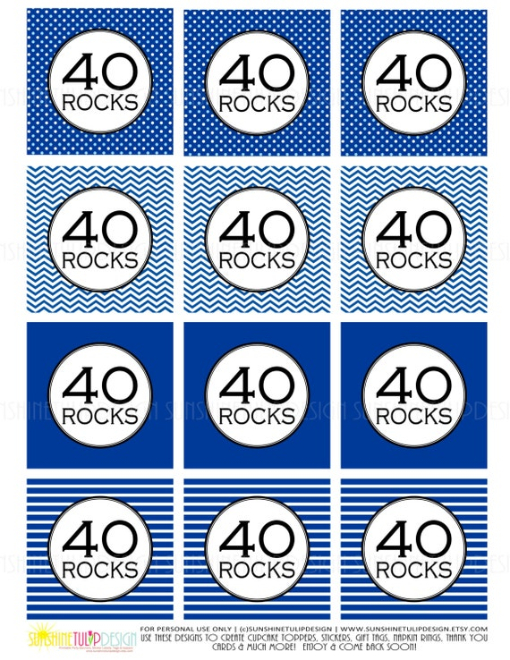 40th Birthday Damask Black and Aqua Printable Cupcake Toppers Sticker Labels /& Party Favor Gift Tags by SUNSHINETULIPDESIGN