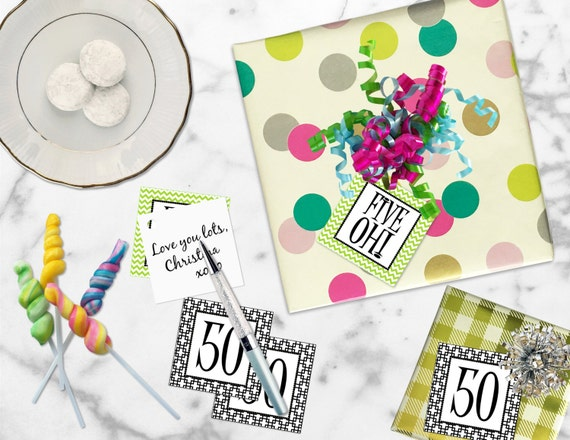 Printable 50th Birthday Five Oh Gift Tags