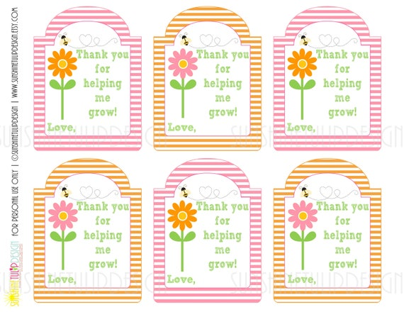 graphic relating to Printable Teacher Gift Tags identified as Printable Instructor Appreciation Reward Tags, Thank yourself for supporting me Increase Present Tags, Crimson and Orange Stripe Present Tags as a result of SUNSHINETULIPDESIGN