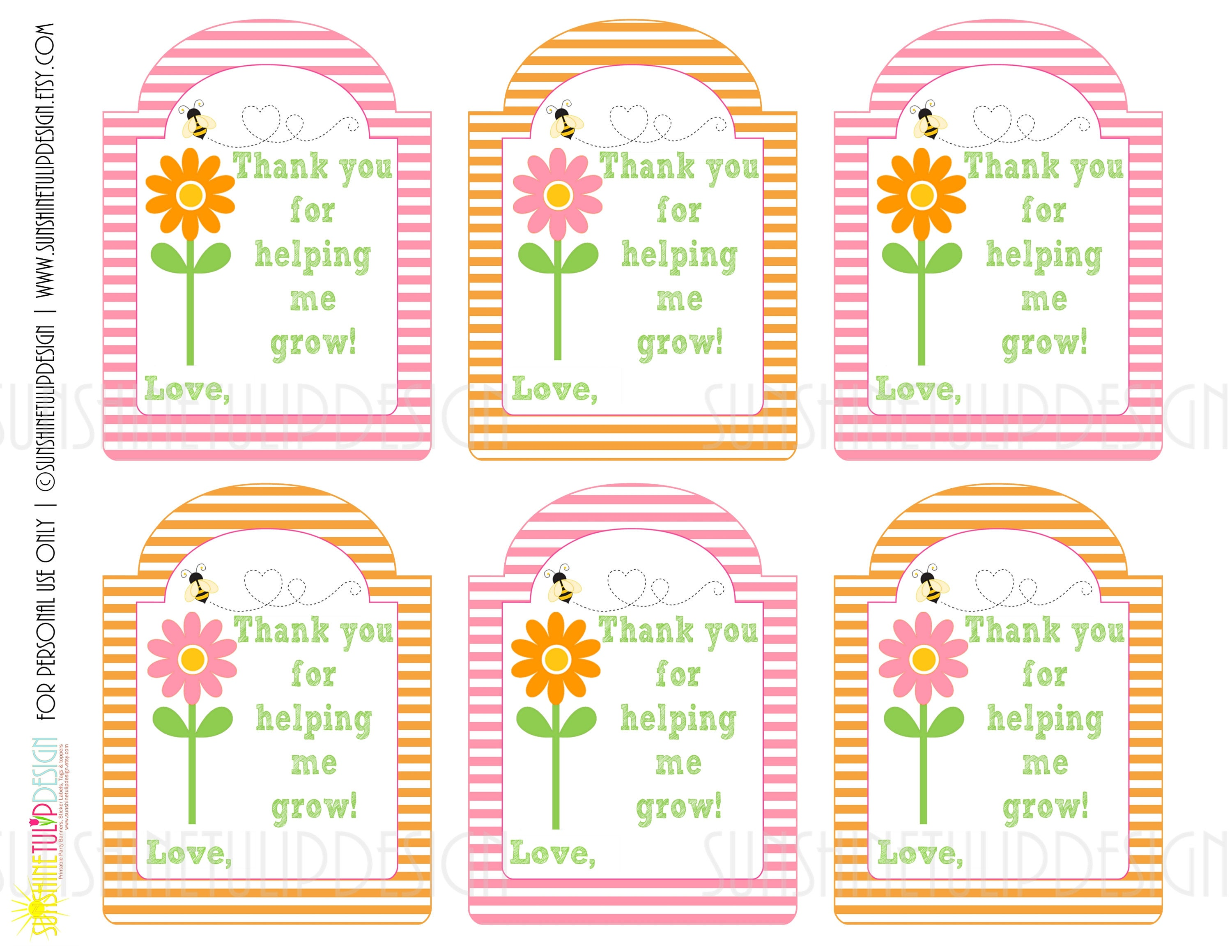 Printable Teacher Appreciation Gift Tags Thank You For Etsy