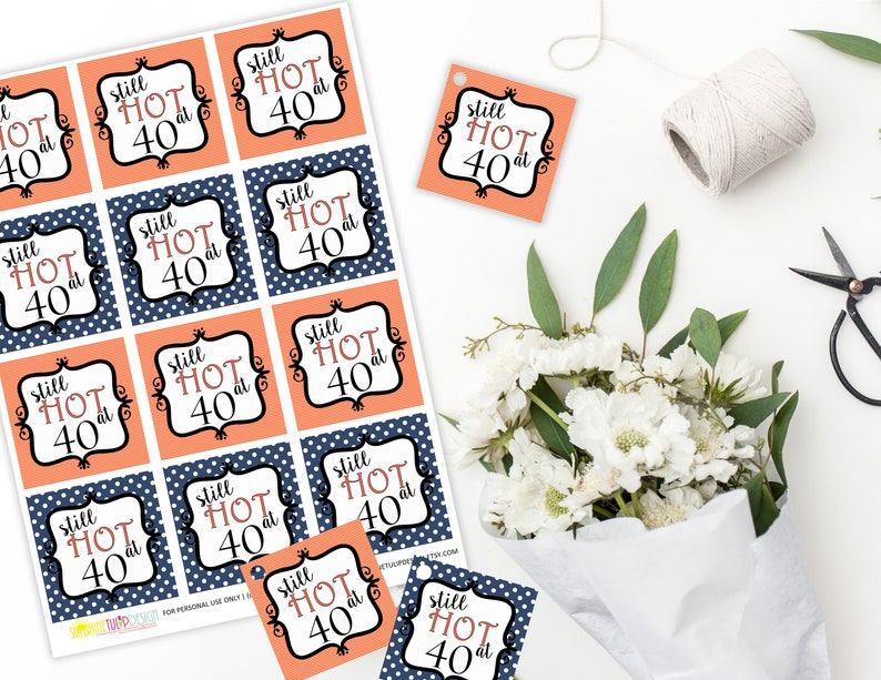 Printable 40th Birthday Gift Tags Coral And Navy Still Hot At