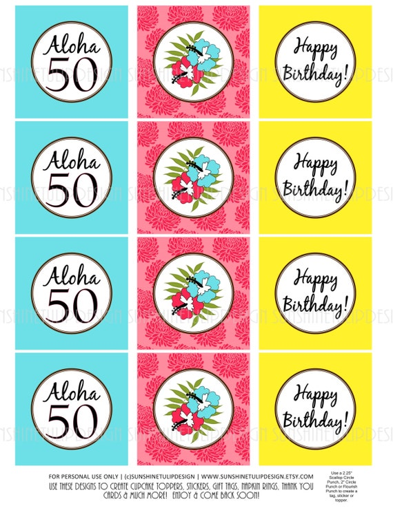 50th Birthday PRINTABLE LUAU Cupcake Toppers Sticker Labels