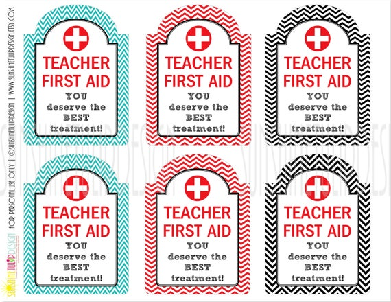 picture relating to First Aid Printable named Printable Instructor Appreciation Reward Tags, Instructor Initial Assistance Package Tags, Back again in the direction of College Instructor Present Tags via SUNSHINETULIPDESIGN