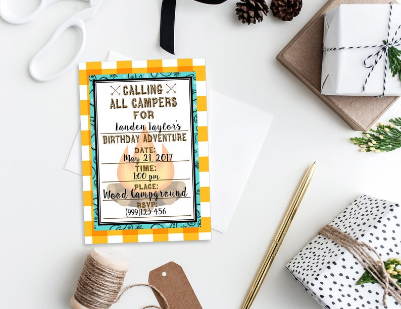 Printable Campout Invitation Camping Birthday Party Fill In Etsy
