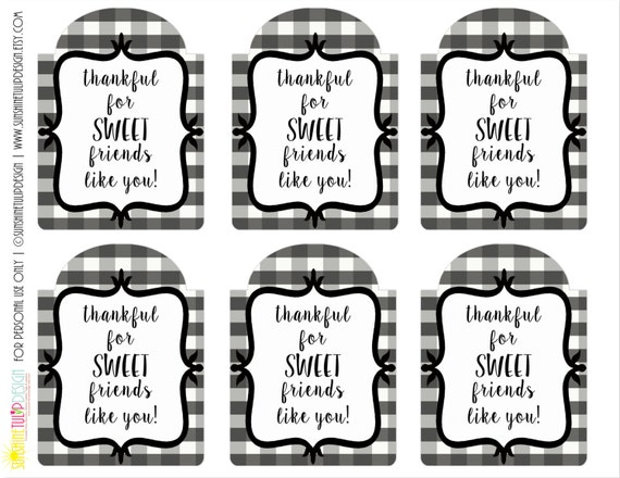 Printable Thankful for SWEET Friends Gift Tags, Printable Gift Tags