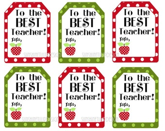 Teacher Appreciation Printable tags, Printable The BEST Teacher Gift Tags, Printable Teacher Appreciation Gift Tags by SUNSHINETULIPDESIGN