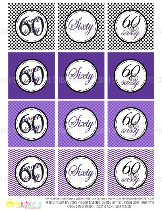 Printable 60th Birthday Cupcake Toppers Printable Gift tags by SUNSHINETULIPDESIGN Sweet and Sassy Cupcake Toppers 60