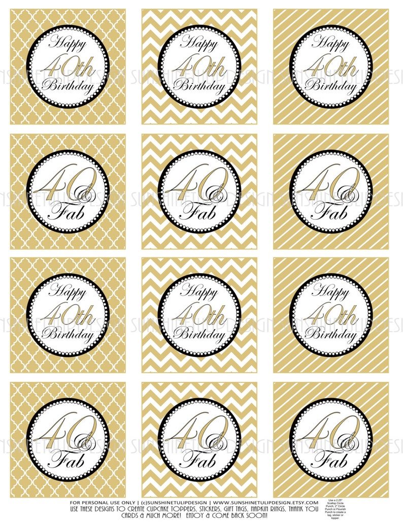 Printable 40th Birthday Gold And Black DIY Cupcake Toppers