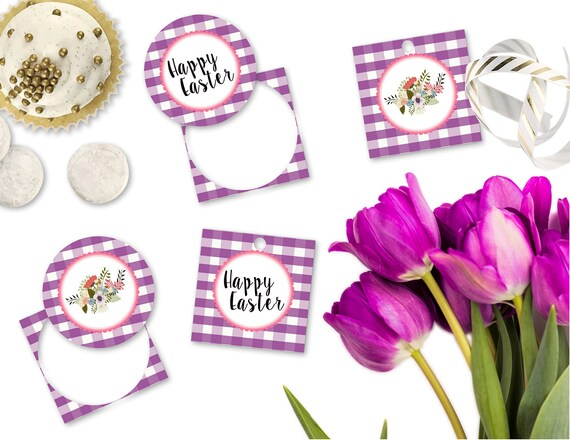 picture relating to Printable Easter Gift Tags called Printable Easter Present Tags, Satisfied Easter Cupcake Toppers