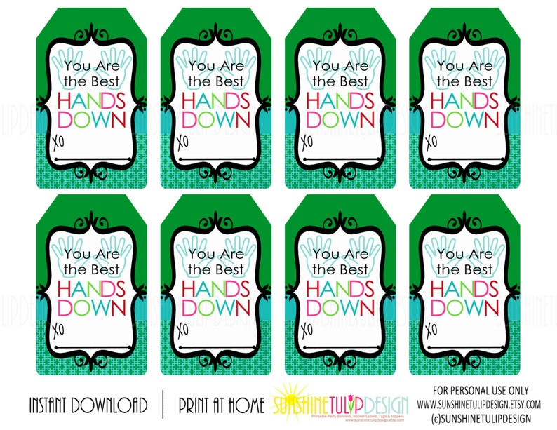 photo regarding Hands Down You're the Best Printable identified as By yourself are the Ideal Palms DOWN Printable Present Tags, Lotion Reward Tags, Hand Cleaning soap Reward Tags by means of SUNSHINETULIPDESIGN