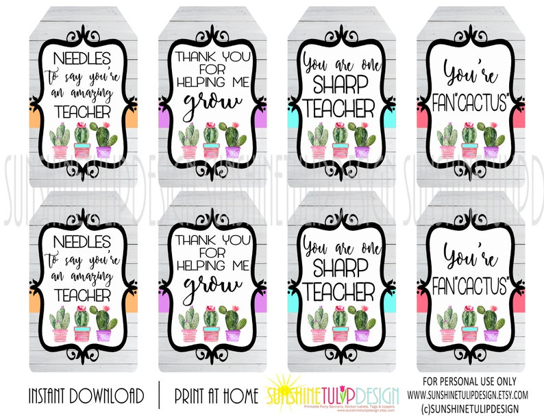 photograph about Teacher Appreciation Tags Printable known as Printable Cactus Reward Tags, Printable Trainer Appreciation Present Tags, Yourself Are FanCACTUS Present Tags through SUNSHINETULIPDESIGN